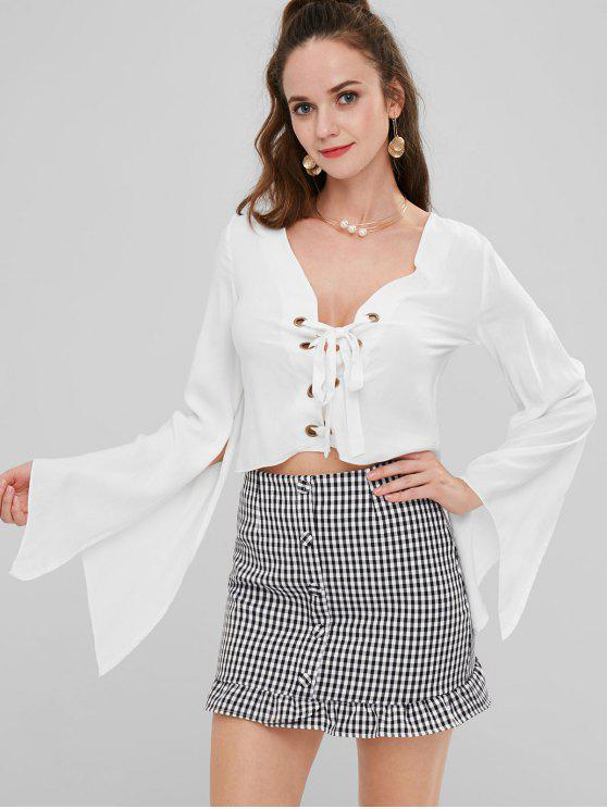 affordable ZAFUL Split Sleeve Lace-up Plunge Blouse - WHITE L