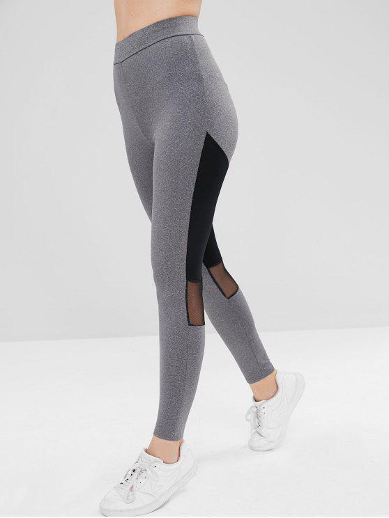 Legging Athlétique Panneau en Maille en Deux Couleurs - Gris XL