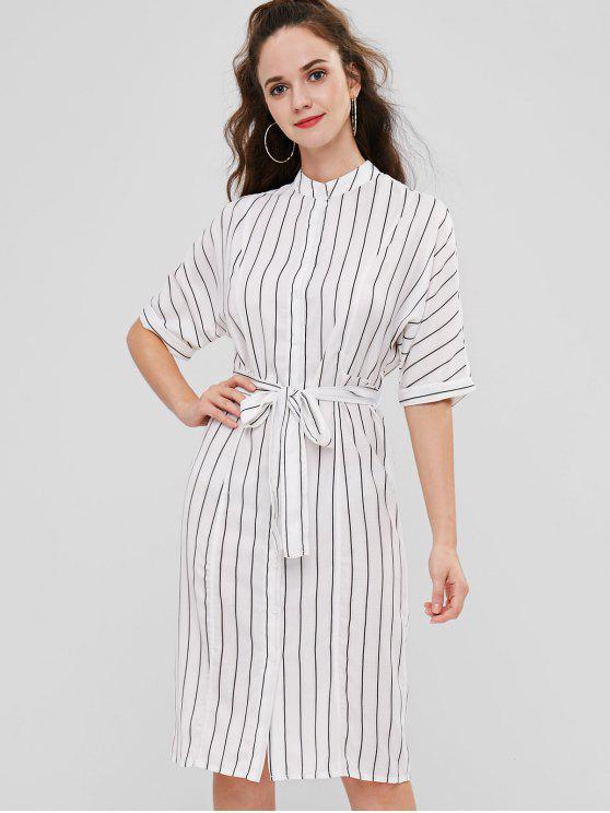 lady Striped Midi Shirt Dress - WHITE L