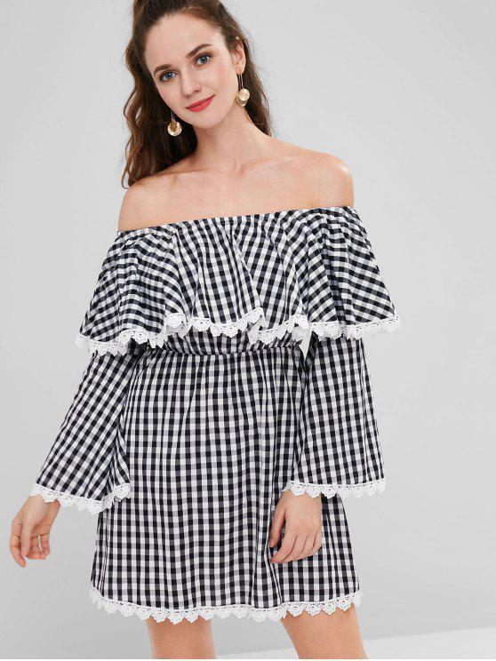 قبالة الكتف فستان منقوش - أسود L
