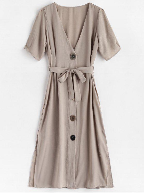 chic V Neck Button Front Midi Dress - GRAY GOOSE M