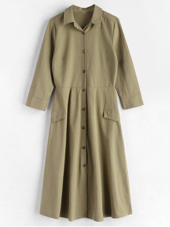women Long Sleeve Woven Midi Shirt Dress - LIGHT KHAKI M