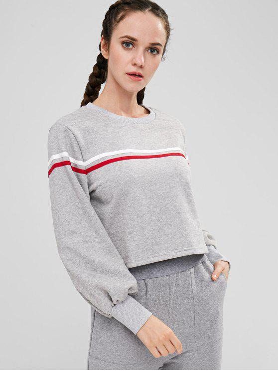 lady Racing Striped Sweatshirt - GRAY CLOUD S