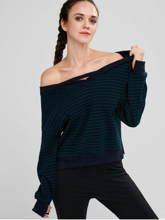 best Skew Collar Striped Drop Shoulder Sweatshirt - MULTI ONE SIZE
