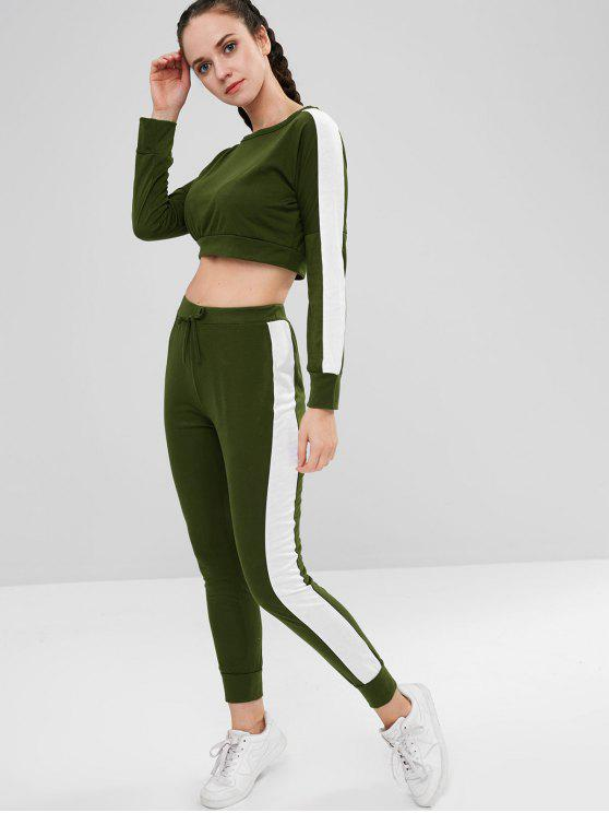 affordable Two Tone Crop Pants Set - ARMY GREEN M