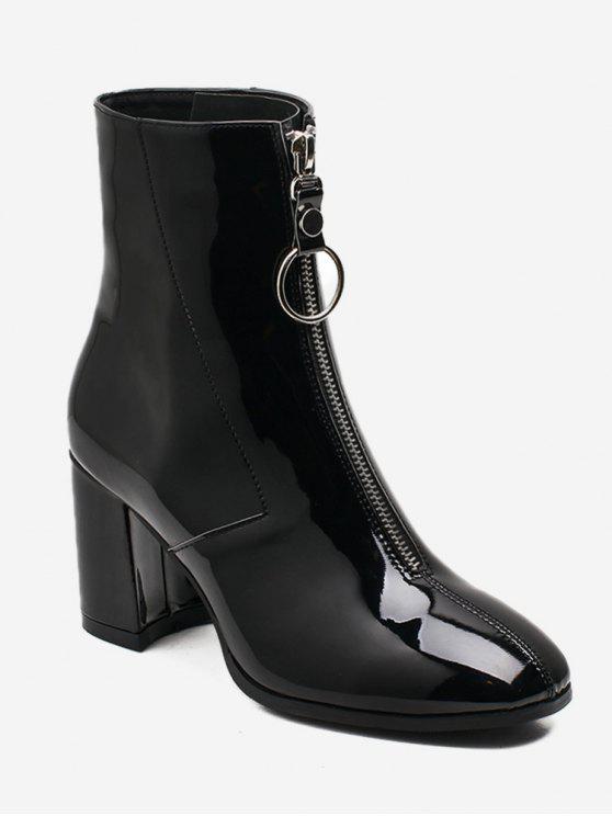 Chunky Heel kurze Stiefel mit Reißverschluss vorne - Schwarz EU 39