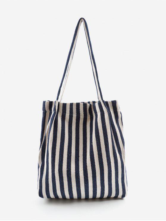 Bolso de hombro de gran capacidad con rayas verticales - Tierra Azul