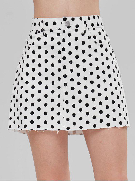 2386040d64 ZAFUL Polka Dot Mini Skirt WHITE