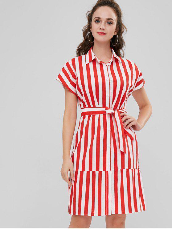 fashion ZAFUL Vertical Stripe Belted Shirt Dress - MULTI S