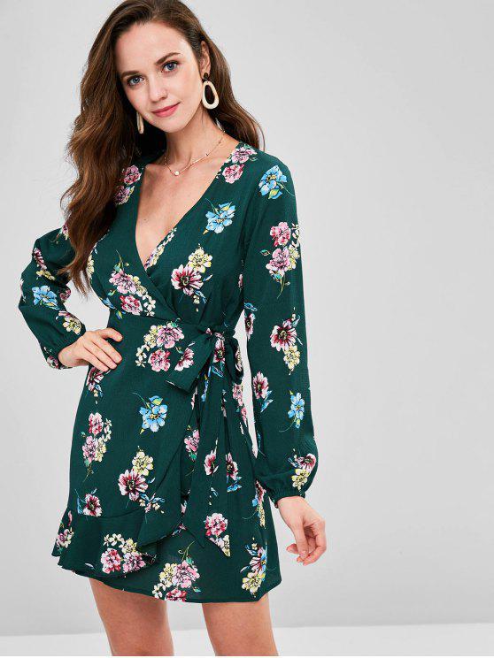 ZAFUL الأزهار منزعج البسيطة فستان سوربليسي - أخضر غامق S