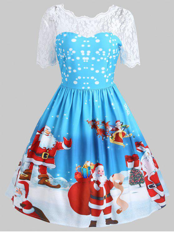 buy vintage christmas santa claus print lace insert dress blue m - Vintage Christmas Dress