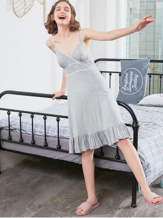 sale Lace Hem Cami Nightdress - LIGHT GRAY XL
