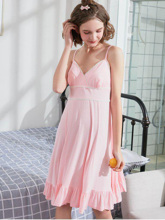 Robe de Nuit à Bretelle à Ourlet en Dentelle - Rose Léger L