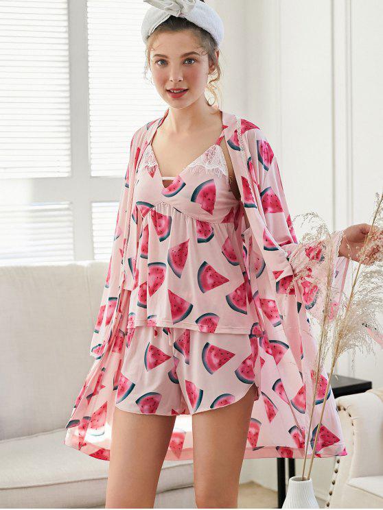 Lace Panel Wassermelone Pyjama Set - Rosa Kaugummi L