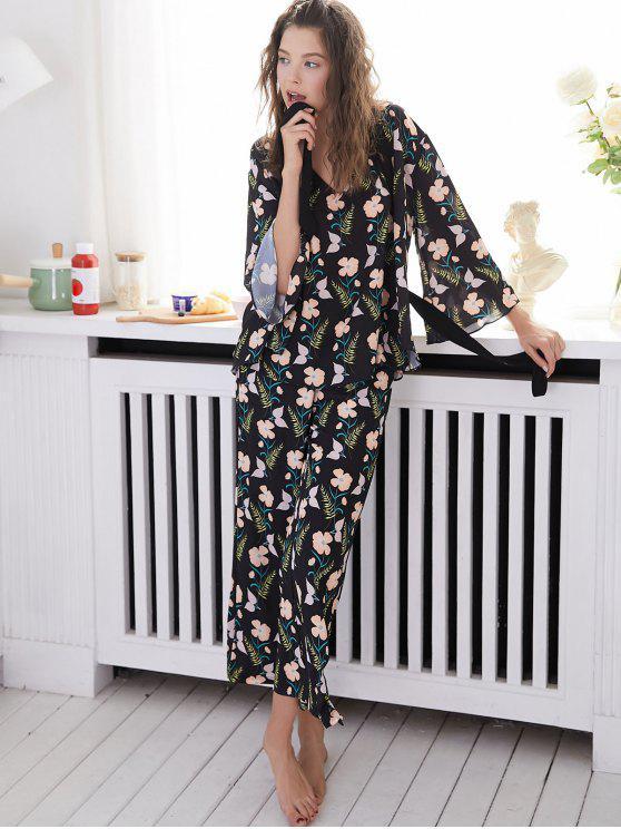 Pyjama Floral Sans Dos avec Robe - Noir L