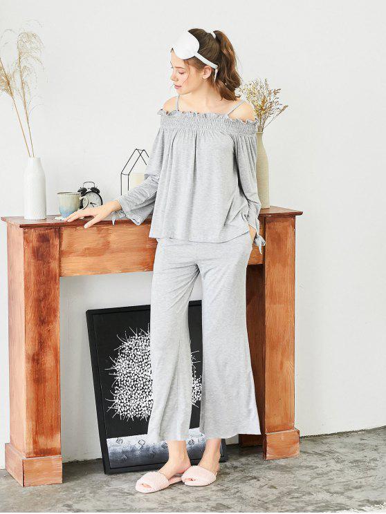 Top Increspato Con Spalle Scoperte E Pantaloni - Grigio XL