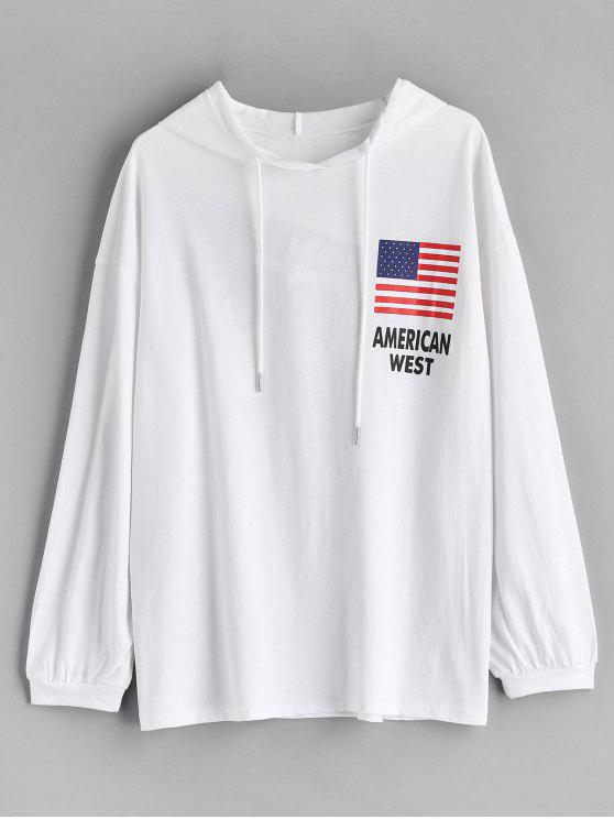 hot American Flag Graphic Hoodie - WHITE ONE SIZE
