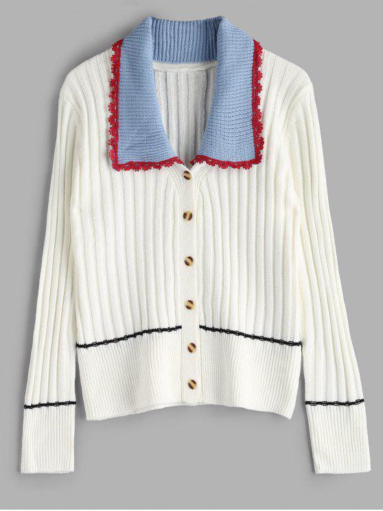 Cardigan Classique avec Bouton en Avant à Col Détachable - Blanc Taille Unique