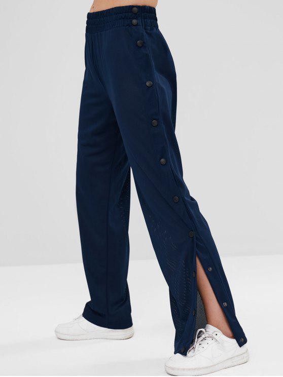 hot Perforated Sports Gym Sweatpants - DEEP BLUE M
