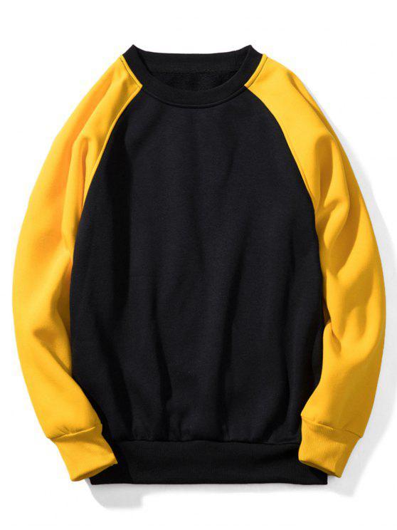 shop Raglan Sleeve Contrast Fleece Sweatshirt - BLACK M