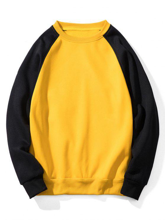 fashion Raglan Sleeve Contrast Fleece Sweatshirt - YELLOW 2XL