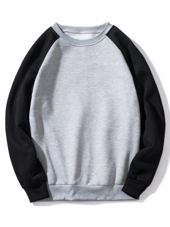 fancy Raglan Sleeve Contrast Fleece Sweatshirt - GRAY M