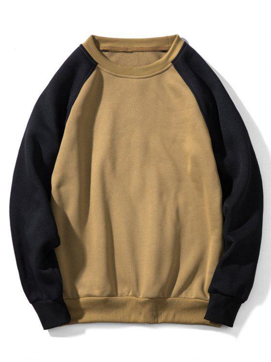 online Raglan Sleeve Contrast Fleece Sweatshirt - LIGHT KHAKI M