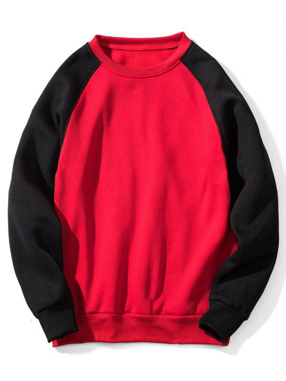 hot Raglan Sleeve Contrast Fleece Sweatshirt - 红色 XL