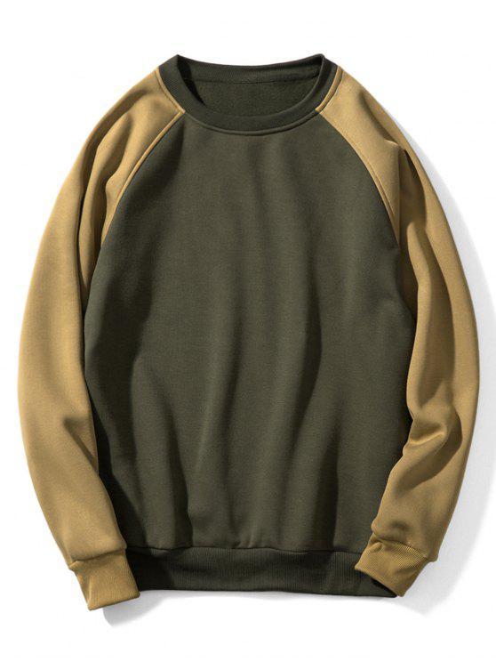 Raglanärmel Kontrast Fleece-Sweatshirt - Grüne Avocado L