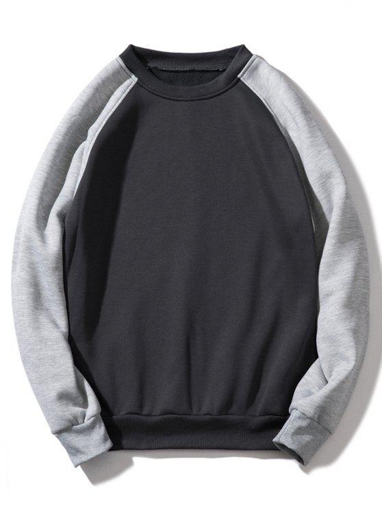 Sweat-shirt Contrasté à Manches Raglan en Toison - Gris Foncé XL