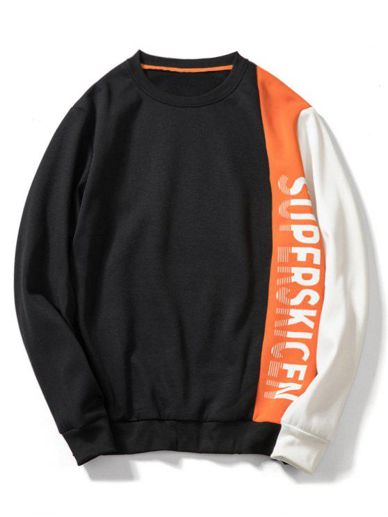 Sweat-shirt Lettre Patchwork Contrasté en Toison - Orange Citrouille XL