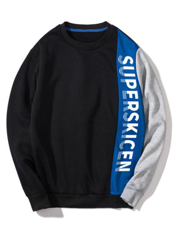 Sweat-shirt Lettre Patchwork Contrasté en Toison - Bleu L