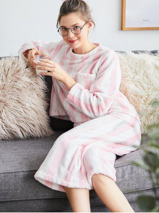 latest Striped Flannel Pajamas Set - PINK L