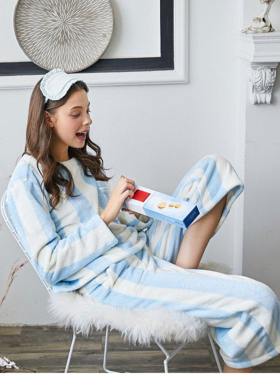 chic Striped Flannel Pajamas Set - BABY BLUE L