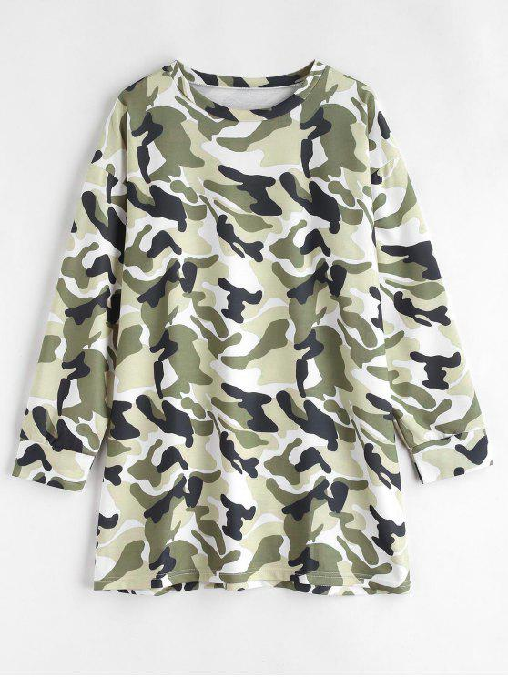 new Long Sleeve Camouflage Tee Dress - MULTI L