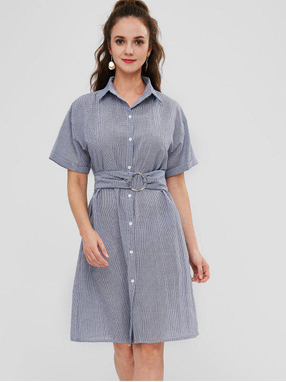 outfit Gingham Checker Midi Shirt Dress - NAVY BLUE ONE SIZE