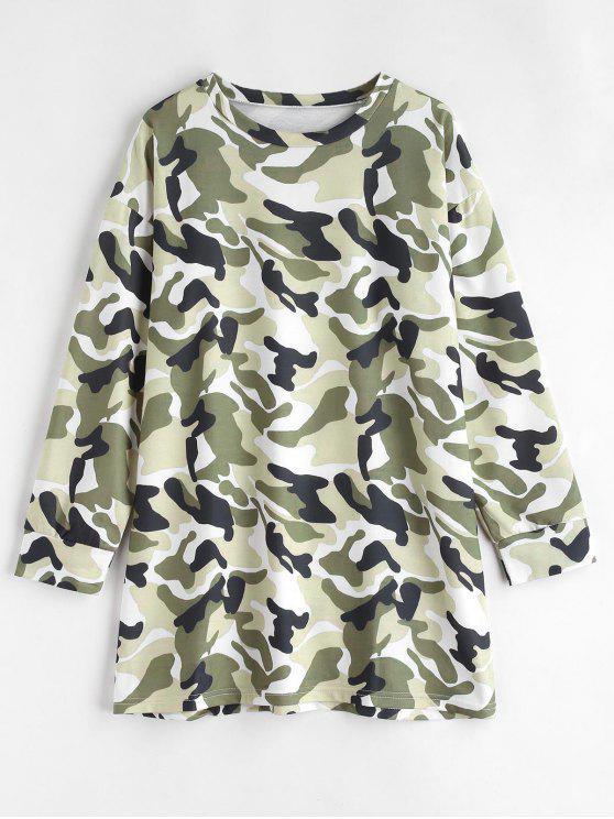 latest Long Sleeve Camouflage Tee Dress - MULTI M
