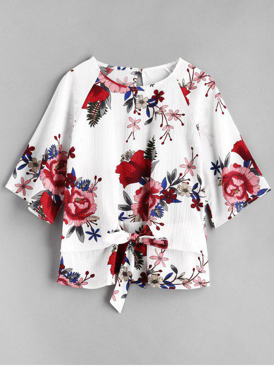 shop Floral Knotted Blouse - WHITE M