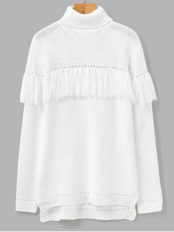 sale Turtleneck Fringed Sweater - WHITE ONE SIZE