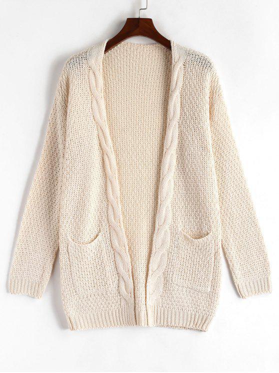 Drop Shoulder Chunky Cardigan - Warmweiß Eine Größe