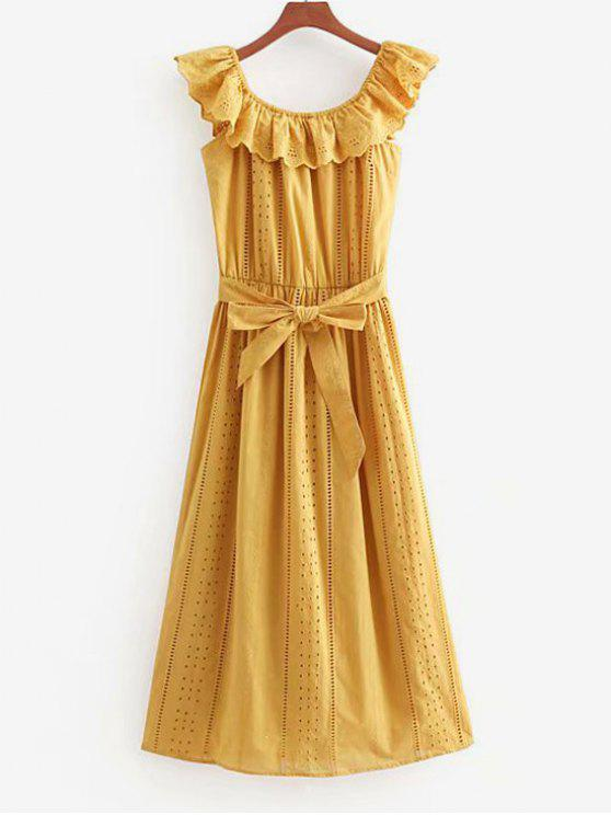 outfits Anglaise Broderie Off The Shoulder Midi Dress - MUSTARD M