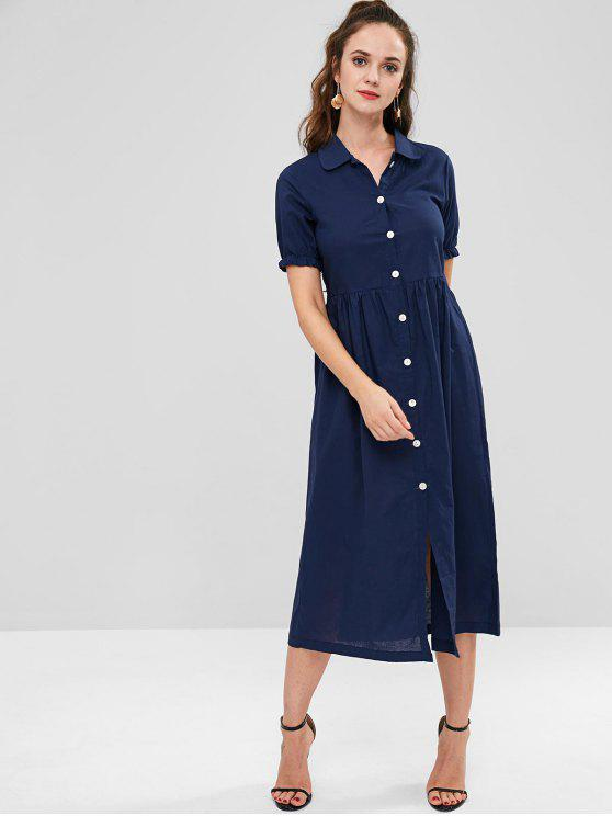 trendy Button Down Shirt Dress - LAPIS BLUE M