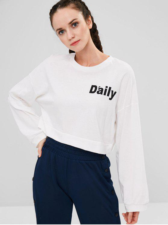 shops Cropped Graphic Oversized Sweatshirt - WHITE ONE SIZE