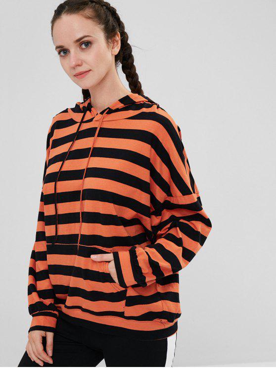 fashion Striped Oversize Hoodie - HALLOWEEN ORANGE ONE SIZE
