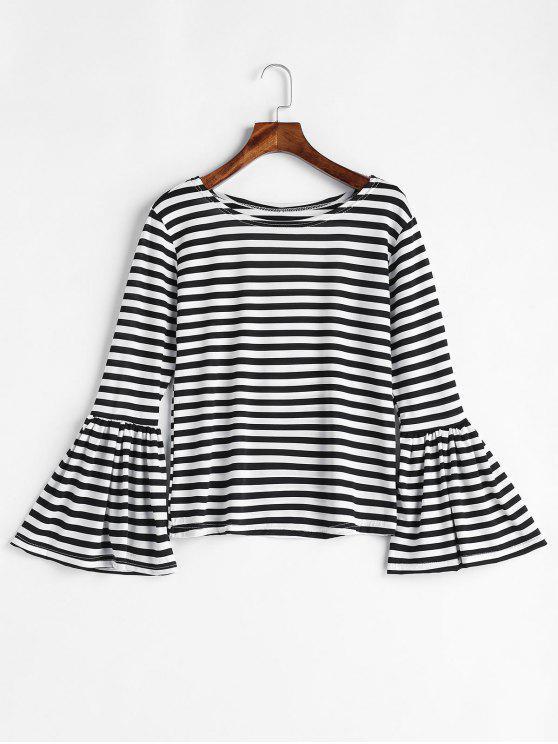 Flare Sleeve Полосатая футболка - Чёрный M