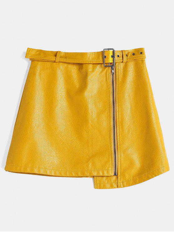 7a3c420d33 66% OFF] 2019 Zippered Faux Leather Skirt In RUBBER DUCKY YELLOW ...