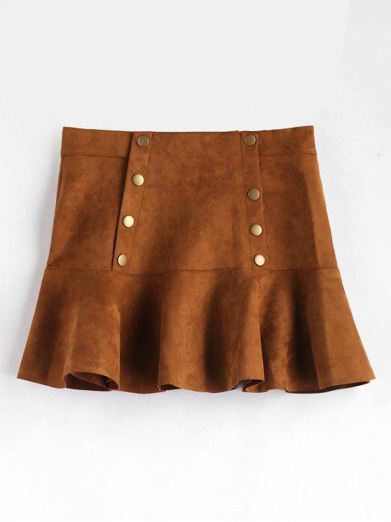 unique Button Detail Ruffle Hem Suede Skirt - BROWN L