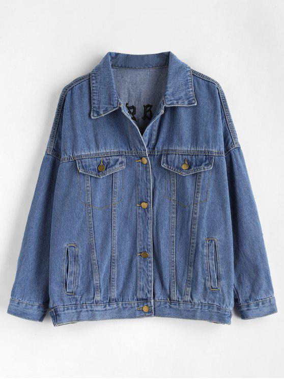 best Letter Embroidered Oversized Denim Jacket - BLUE M