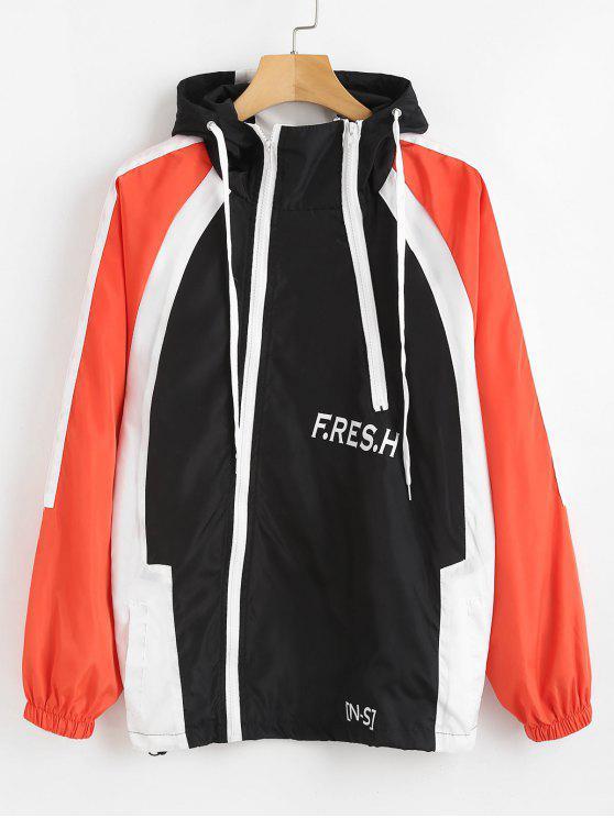 shop Color Block Letter Hooded Jacket - BLACK M