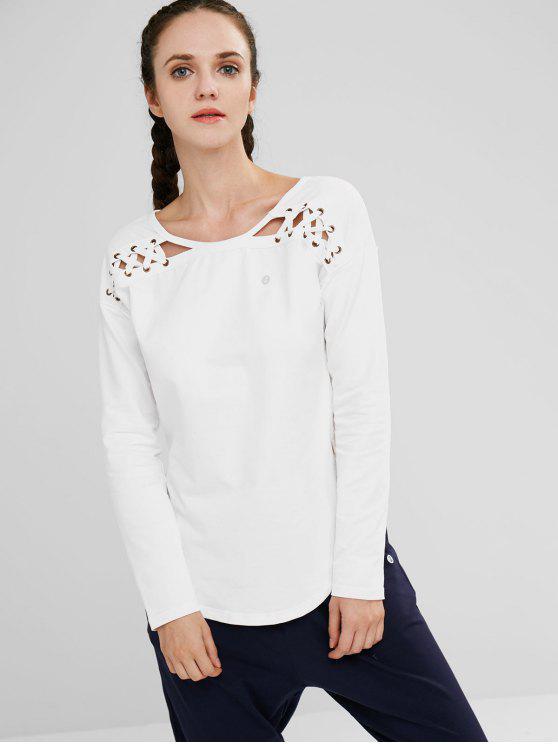 ZAFUL Lace Up Drop Shoulder asimétrico camiseta - Blanco S